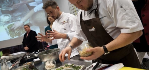 Boys from Island Muhu staging the Nordic Islands' Cuisine in Milan
